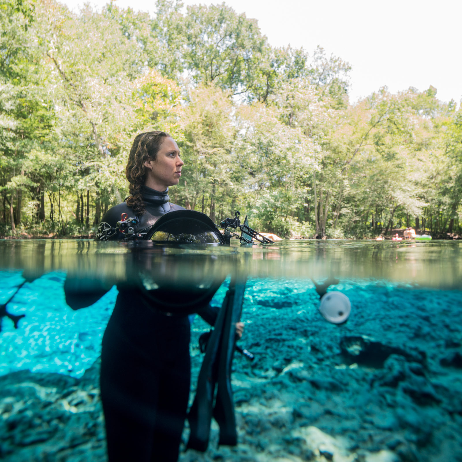 WHITE SPRINGS, FL - MAY 29: Jenny Adler dives at Ginnie Springs in White Springs, Florida May 29, 2019 (Photo by Bob Croslin/Getty Images for National Geographic Partners)